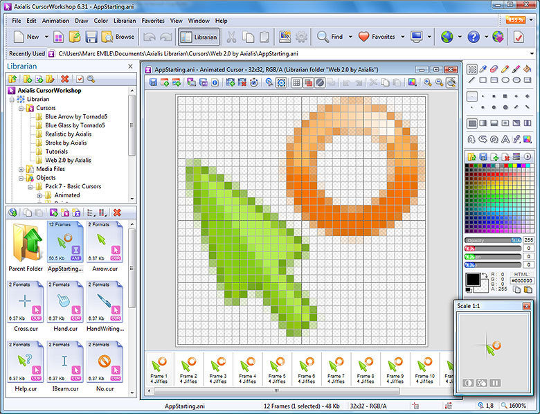 Click to view Axialis CursorWorkshop 6.33 screenshot